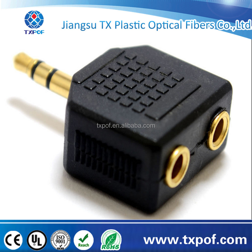3.5mm Jack Plug Audio Cable Headphone Splitter Aux Gold Plug