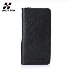 Top quality long style cow leather wallet mens casual wallet with zipper
