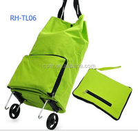 Supermarket Green Folding Trolley RH-FT03 For Foldable Shopping Trolley Bag With Wheels