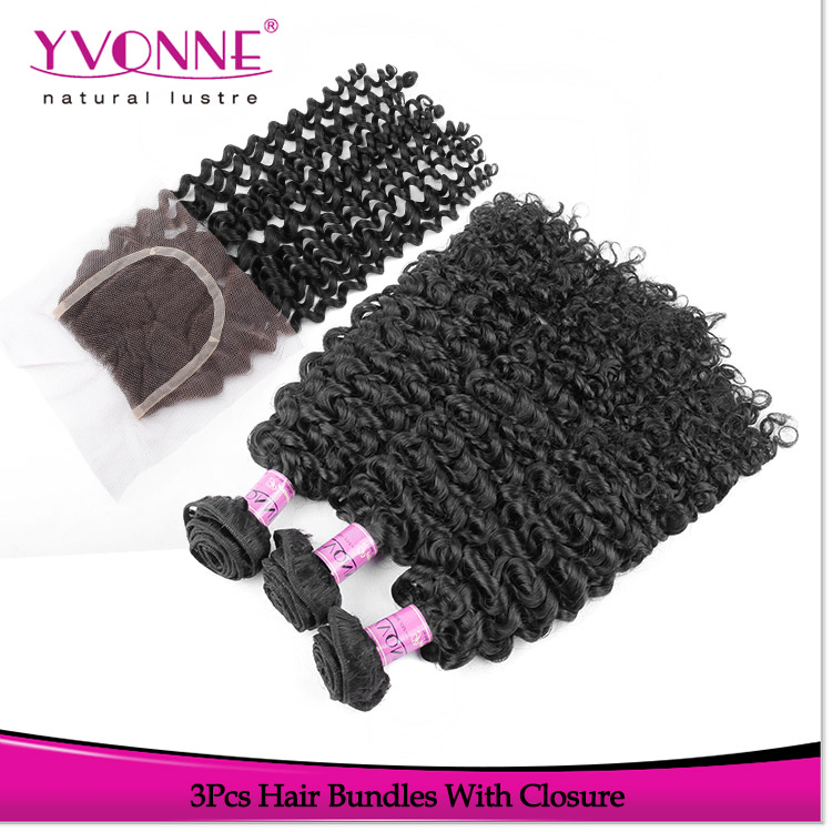 2016 New Comer Malaysian Curly Virgin Hair Brazilian Hair Bundles With Closure