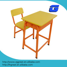 Top-end wooden steel double student desk and chair,school furniture/classroom metal wood kids table chair set