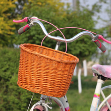 Removable bike basket pets front wicker bicycle basket for dogs
