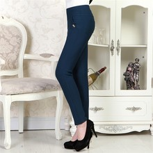 The New Fashion Middle-aged Mother Outer Wear High Waisted Tights Leggings Pencil Feet High Stretch Pants 9506