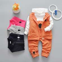 spring new style children suit fashion designer baby suit 0-4T long sleeve cartoon cat baby clothing suit