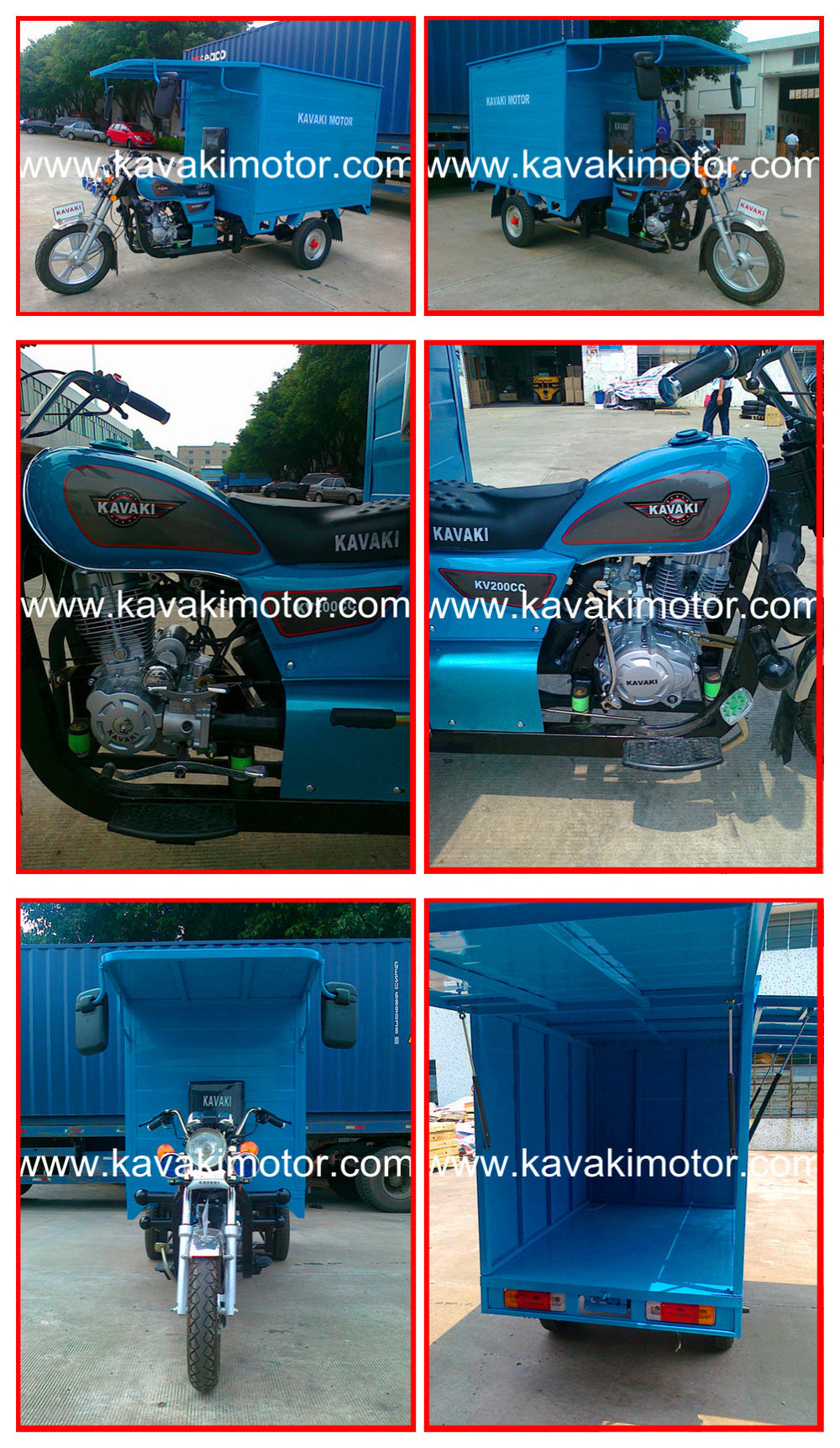 Heavy Duty 175cc Closed Van Cargo Tricycle With Cabin For Goods Delivery / Express Tricycle