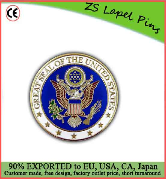 Custom quality novelty gift Great Seal of the United States Lapel Pin