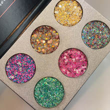 OEM Custom Private Label 6 Color Makeup Pressed Glitters Eyeshadow Palette Long-lasting Eye Shadow Body Glitter Make up Compact