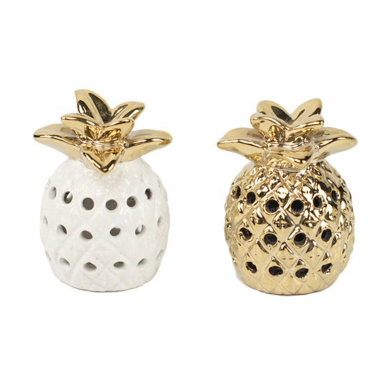 Unique cheap promotion gift craft ceramic gold pineapple wedding home <strong>decoration</strong> pieces