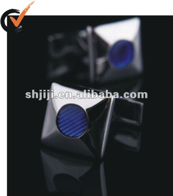 Novel Blue Dot In Center Metal Cufflink