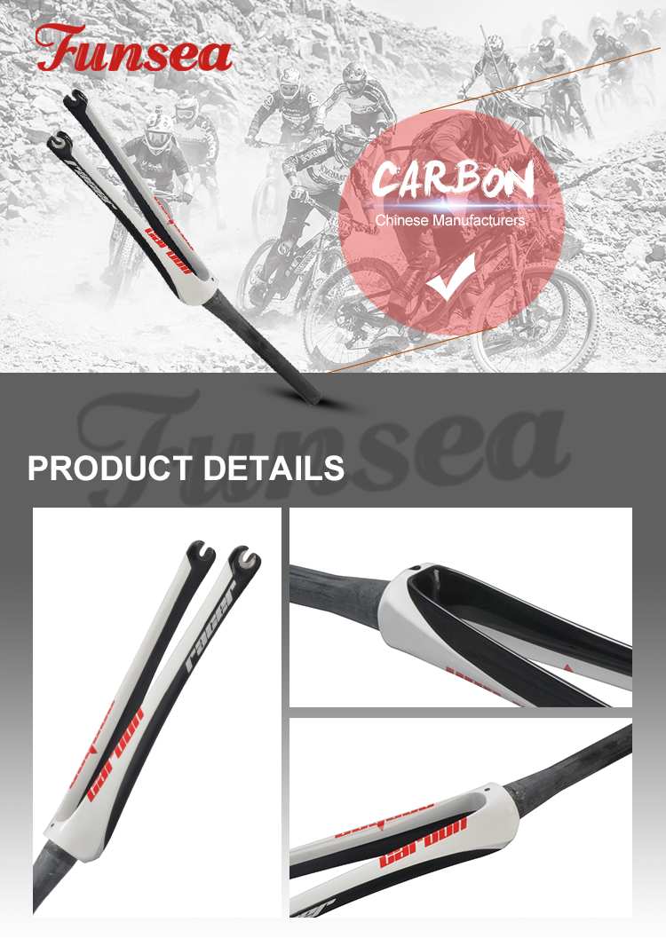 Funsea China famous extreme sport cycle brand supply high end black white road bicycle fork carbon fork with OEM ODM service