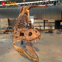 Wholesale indoor decoration artificial fiberglass fake dinosaur skeleton models for museum