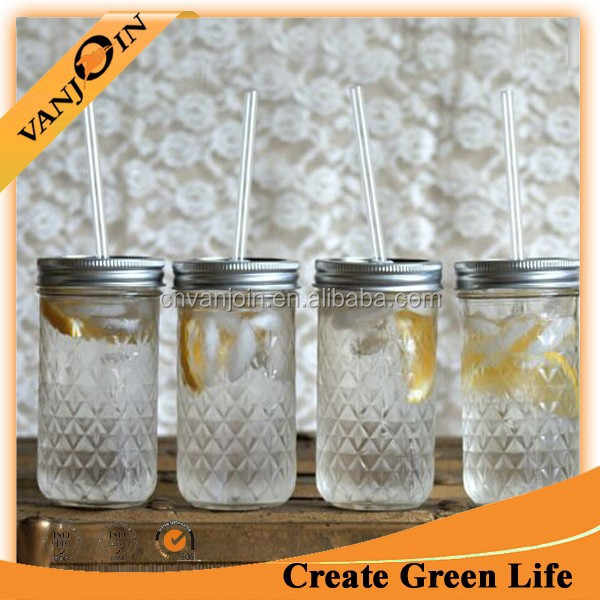 12oz Ball Quilted Mason Jars Drinking Glasses With Lid