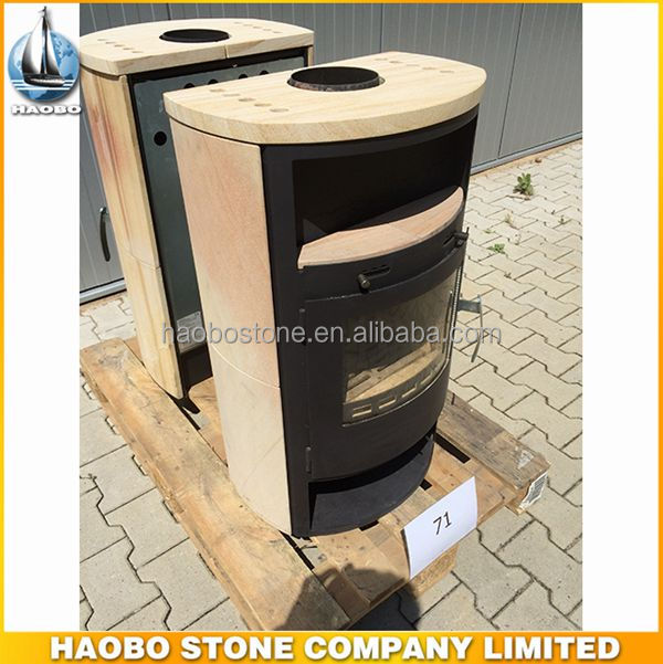 New And Hot Sale Yellw Sandstone Fireplace ,Wood Burning Cast Iron Firplace