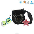 metal button retractable nylon dog leash with light