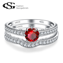 GS Women Cubic Zirconia Ring 925 Sterling Silver Ring Wedding Ring Set