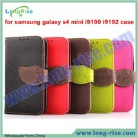 High Quality Leaf Magnetic Leather Flip Cover Case for Samsung Galaxy S4 Mini I9190 i9192 Case with Lanyard