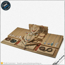 Hot Sale Linen Flax Jewelry Display Set Table Showcase