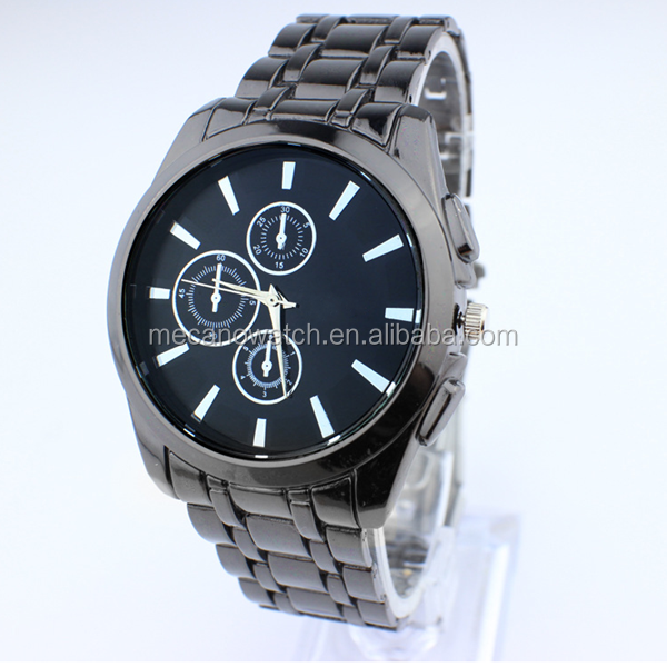 2015 Newest Designer custom parts warranty 2 years embossed index chronograph sports all stainless steel men watch