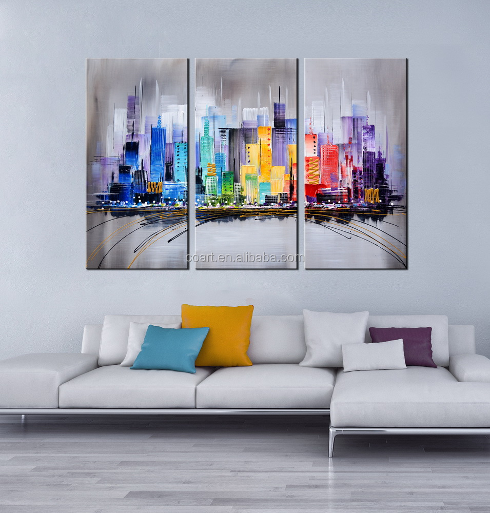 Modern Acrylic Original Abstract Buildings Wall Art Decor Oil Painting