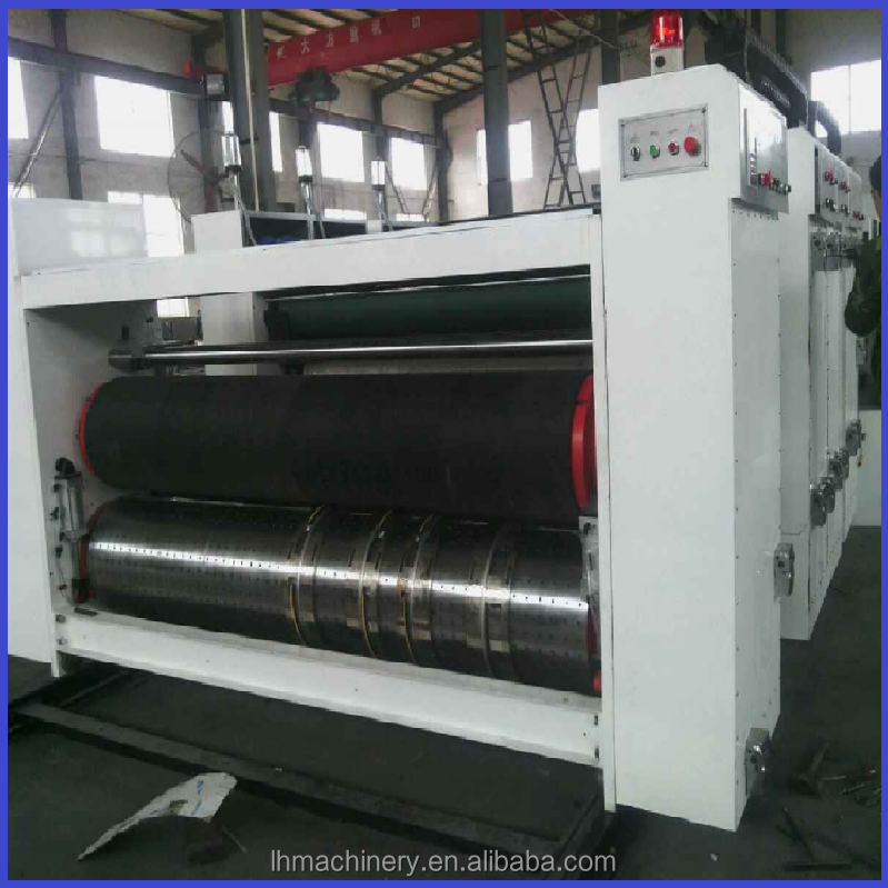 Dongguang corrugated carton box chain feeder flexo 2 color printer slotter die cutter machine attachment / packing machine