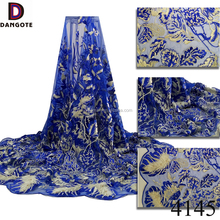 Dangote hot selling royal blue soft textile french lace fabric/textile beaded lace fabric dubai for fashion dress 4145