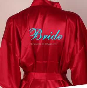 OEM supply embroidery robe for wedding plain satin getting ready robes