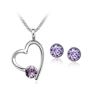 18K White Gold Plated Violet Heart