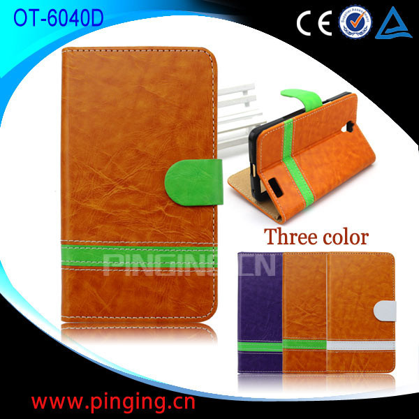 In Stock Manufacturer flip cover for alcatel one touch idol x, mobile phone case for alcatel 6040