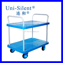 4 Wheel Standard Two Layers Transportation Platform Hand Trolley PLA150-T2-D