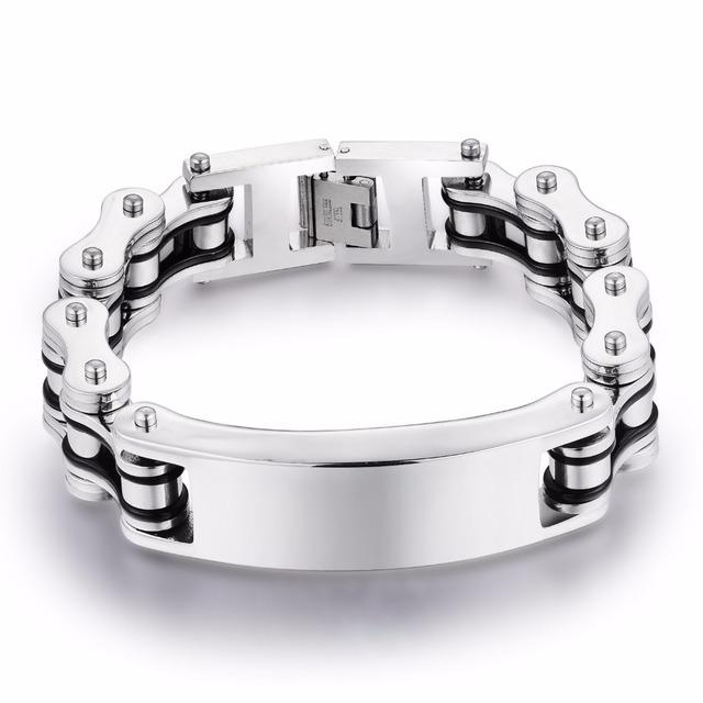 Black Two Tone Biker Stainless Steel Bracelet Customed ID Heavy Chain Bangle Men Bracelet