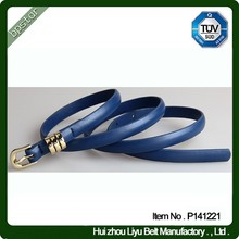 Factory supply genuine leather belt women thin belt 1.0cm green blue color