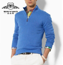 Custom High Quality Mens Plain Polo Neck 1/4 Zip Pullover Knitted Pure Wool Sweater