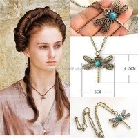 500pcs game of thrones necklace song of ice and fire Sansa Stark vintage dragonfly pendant for women DHL Freeshipping