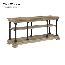 Mrs Woods French country style solid wood industrial antique console table with metal leg