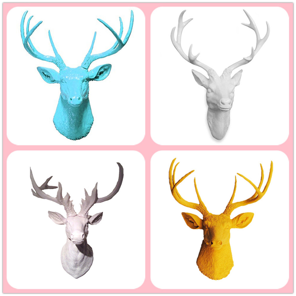 china factory of Artificial decorative white wall mounted resin deer head