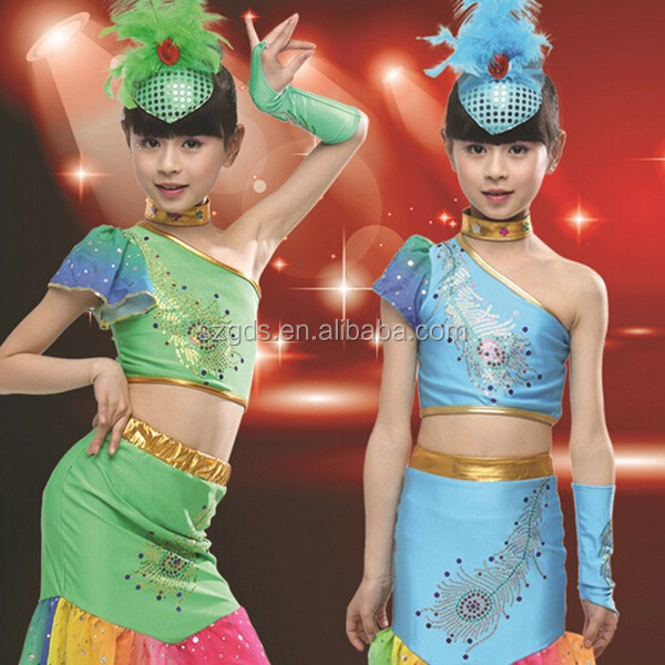 New high quality Children Peacock dance Costumes Minority Dance dress for Girls Green/ Blue/ Rose
