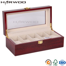 Harwoo Brand Glossy 5 slots wooden watch package display case