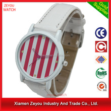 R0718 (*^__^*) Custom logo printed concept watch , PU band stripe dial concept watch