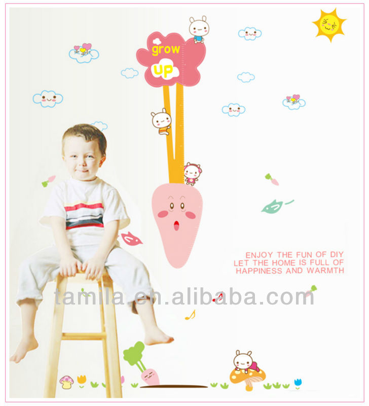 cute carrot height kid decorative diy wall sticker