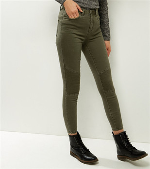 Royal wolf denim jeans manufacturer solid color biker skinny jeans for ladies