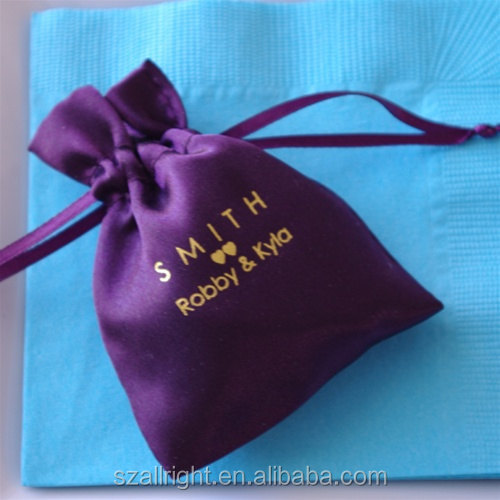 Satin Bag Personalized Favor Bag colors custom printed indian wedding favor bags
