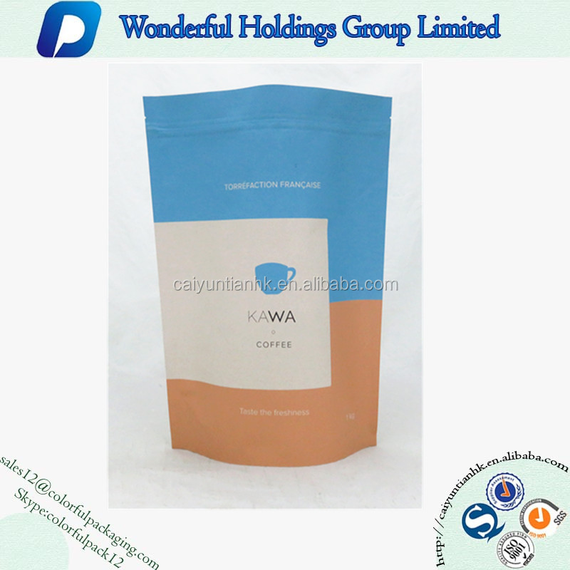 1kg Custom Printed Ziplock Kraft Paper Foil Lined Coffee Standup Pouch Kraft