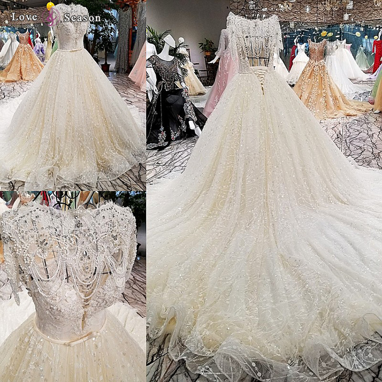LS00355 heavy bead wedding dress made in italy with lace train lace up bridal train dresses