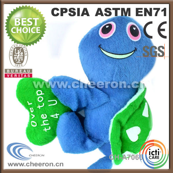 Printing face plush turtle blue turtle stuffed turtle toy with green heart