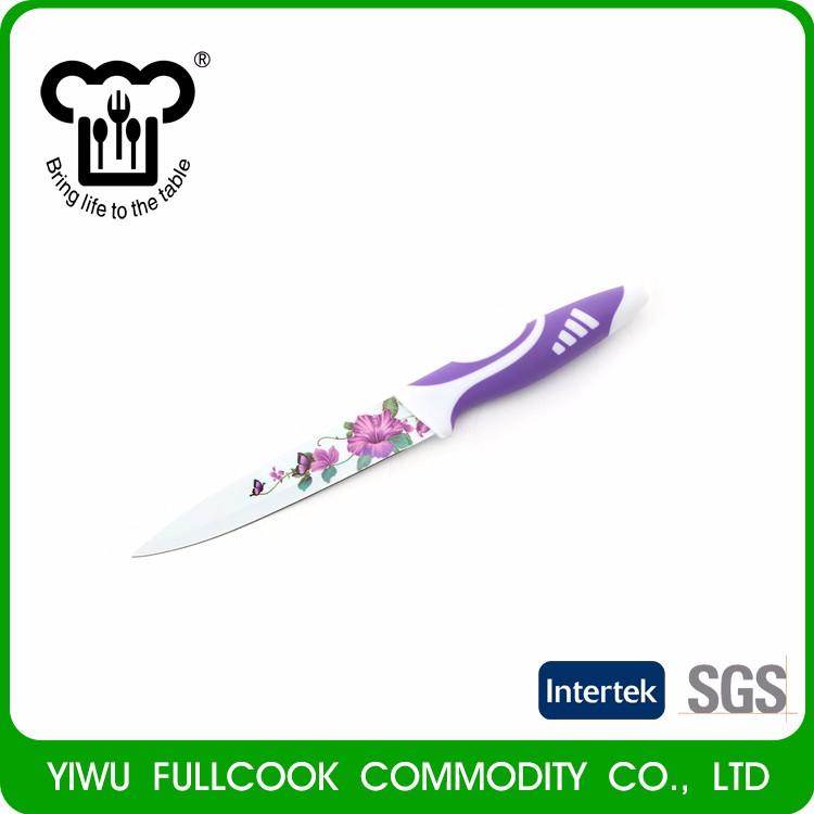 Top fashion custom design flower pttern non-stick kitchen knife set