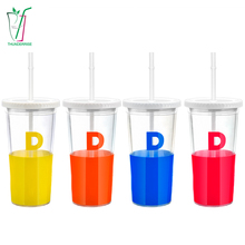 High Technology Various Colours Hard Plastic Cups With Lid And Straw
