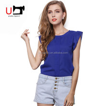Blouse for Women Bangkok Round Neck Design of Chiffon Short Sleeve Ladies Button Blouses