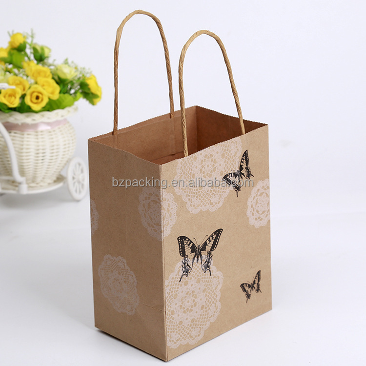Top quality fashion design mini brown paper gift bags with handles