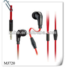 designers cool in-ear stereo earphone with flat cable microphone