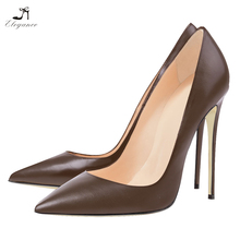 Elegant Women Fetish High Heel Coffee Color Pointy Toe Ladies Leather PU Court Dress Shoes